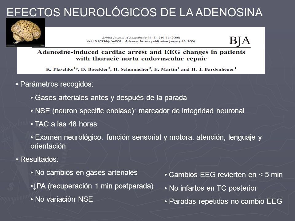 EFECTOS NEUROLÓGICOS DE LA ADENOSINA Parámetros recogidos: Gases arteriales antes y después de la parada NSE (neuron specific enolase): marcador de in