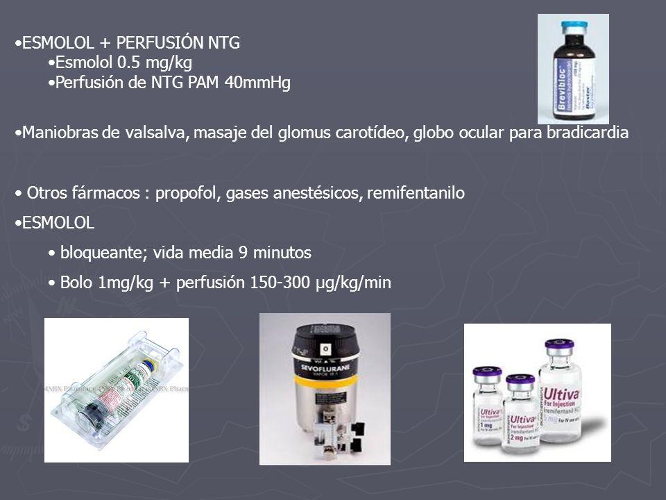 ESMOLOL + PERFUSIÓN NTG Esmolol 0.5 mg/kg Perfusión de NTG PAM 40mmHg Maniobras de valsalva, masaje del glomus carotídeo, globo ocular para bradicardi