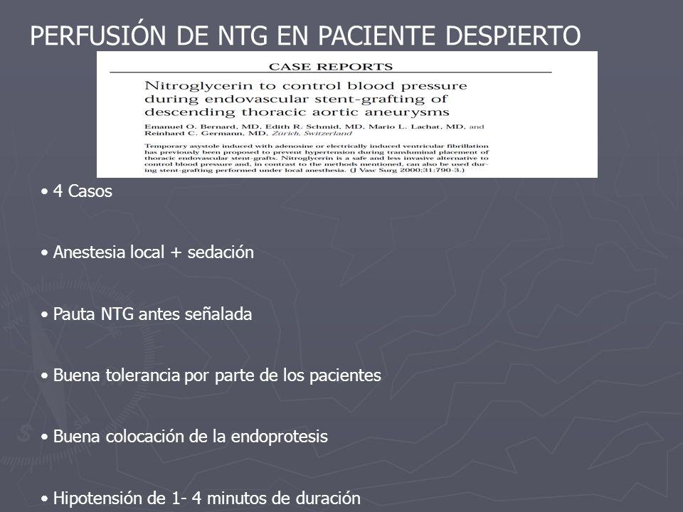 PERFUSIÓN DE NTG EN PACIENTE DESPIERTO 4 Casos Anestesia local + sedación Pauta NTG antes señalada Buena tolerancia por parte de los pacientes Buena c