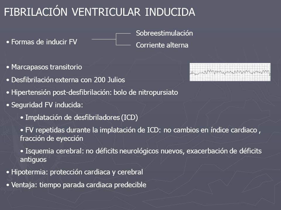 FIBRILACIÓN VENTRICULAR INDUCIDA Formas de inducir FV Marcapasos transitorio Desfibrilación externa con 200 Julios Hipertensión post-desfibrilación: b