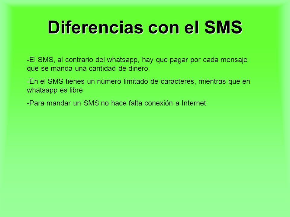 Diferencias con el SMS -El SMS, al contrario del whatsapp, hay que pagar por cada mensaje que se manda una cantidad de dinero. -En el SMS tienes un nú