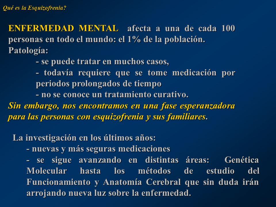 Qué es la Esquizofrenia? ENFERMEDAD MENTAL afecta a una de cada 100 personas en todo el mundo: el 1% de la población. Patología: - se puede tratar en