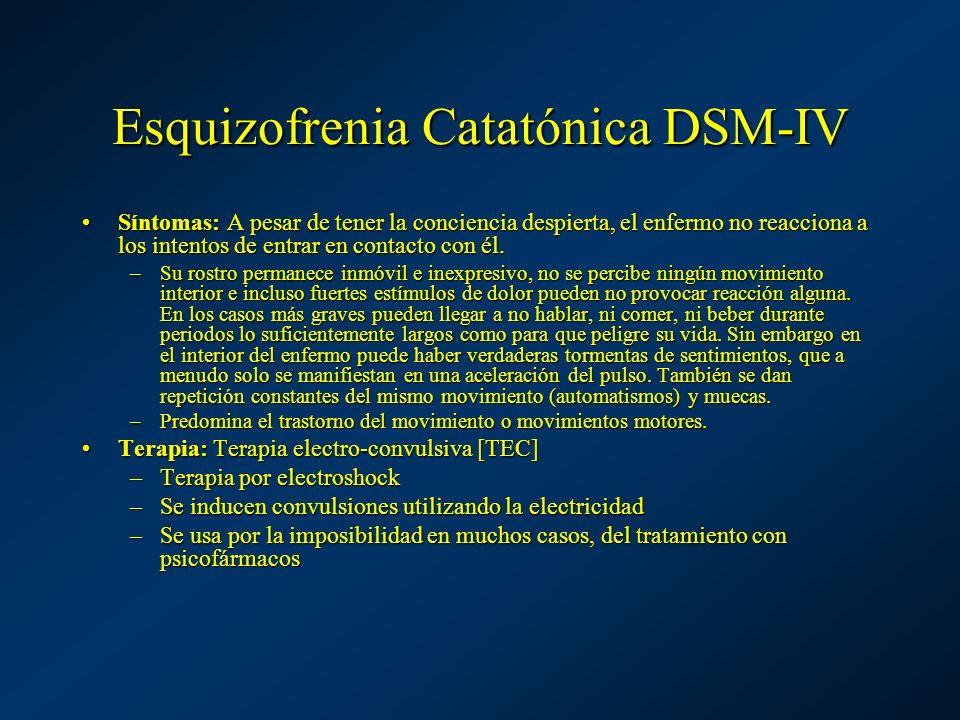 Esquizofrenia Catatónica DSM-IV Síntomas: A pesar de tener la conciencia despierta, el enfermo no reacciona a los intentos de entrar en contacto con é