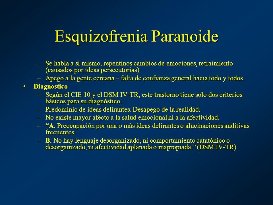 Esquizofrenia Paranoide –Se habla a si mismo, repentinos cambios de emociones, retraimiento (causados por ideas persecutorias) –Apego a la gente cerca