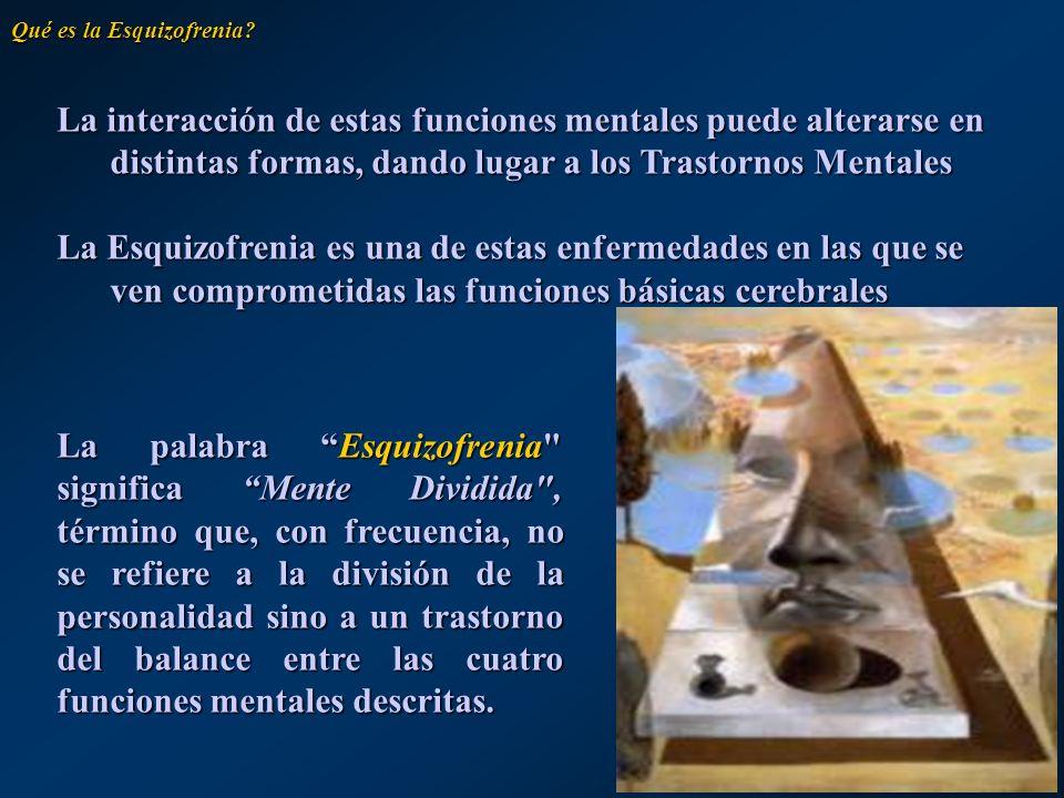 Las diez principales causas de discapacidad en todo el mundo (años de vida ajustados a discapacidad) en edades entre los 15 y los 44 años (1990) Enfermedad o daño Clasificación Depresión mayor unipolar 1 Tuberculosis2 Accidentes de tráfico 3 Consumo de alcohol 4 Daños autoprovocados 5 Trastorno bipolar 6 Guerra7 Violencia8 Esquizofrenia9 Anemia ferropénica 10 Qué es la Esquizofrenia?