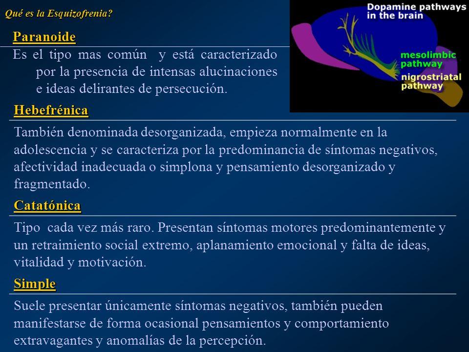 Hebefrénica También denominada desorganizada, empieza normalmente en la adolescencia y se caracteriza por la predominancia de síntomas negativos, afec