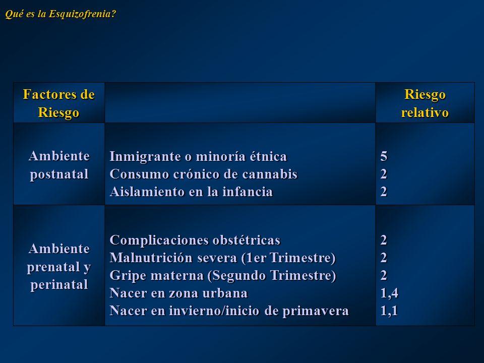 Factores de Riesgo Riesgo relativo Ambiente postnatal Inmigrante o minoría étnica Consumo crónico de cannabis Aislamiento en la infancia 522522522522