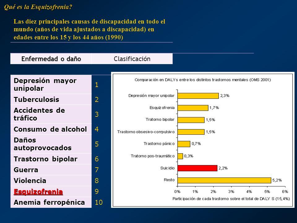 Las diez principales causas de discapacidad en todo el mundo (años de vida ajustados a discapacidad) en edades entre los 15 y los 44 años (1990) Enfer