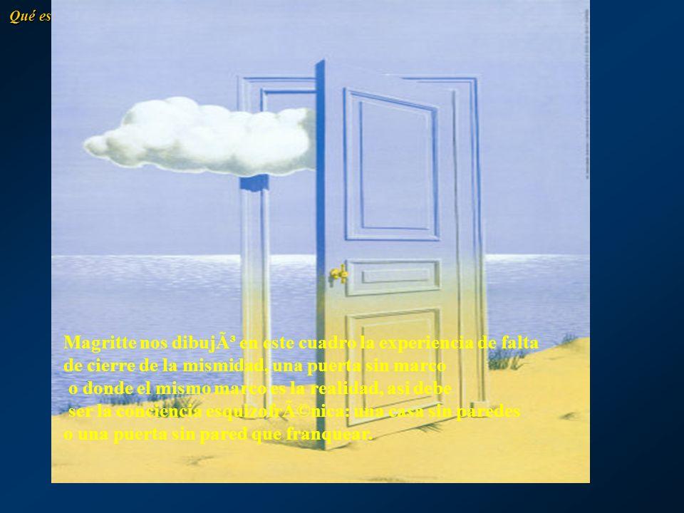 Magritte nos dibujó en este cuadro la experiencia de falta de cierre de la mismidad, una puerta sin marco o donde el mismo marco es la realidad, asi