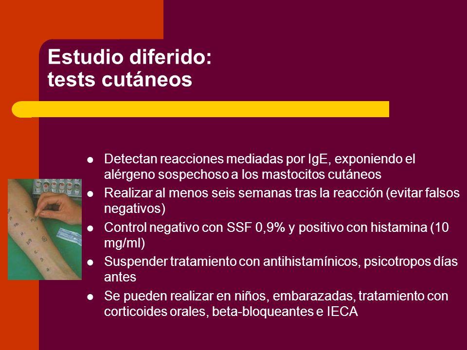 Estudio diferido : tests cutáneos – PRICK TEST (Gold estándar) EPIDÉRMICO.