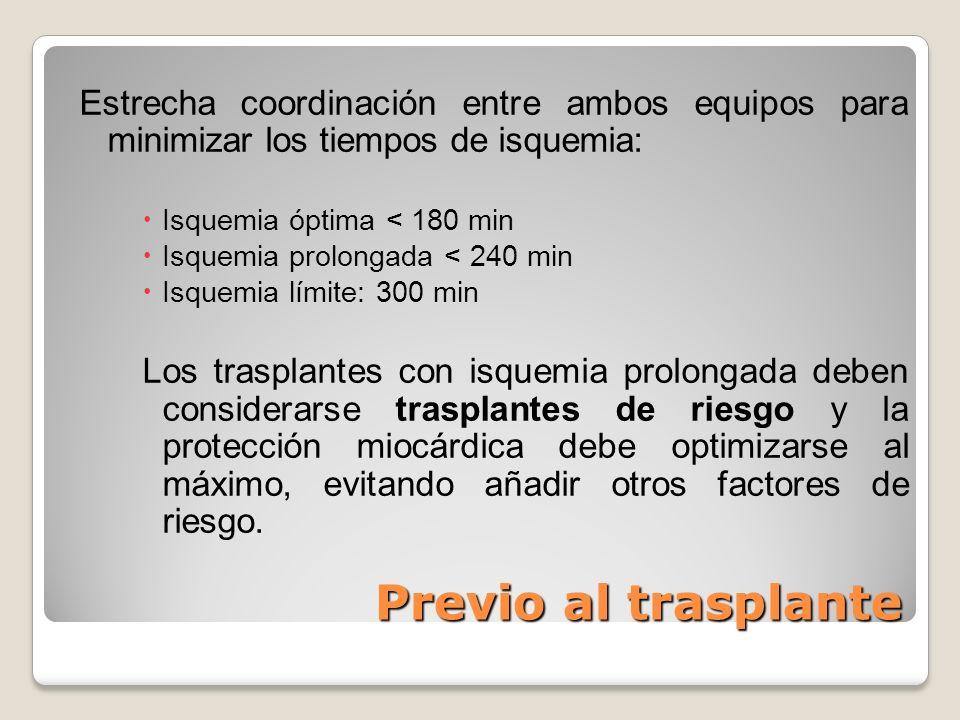 Previo al trasplante Estrecha coordinación entre ambos equipos para minimizar los tiempos de isquemia: Isquemia óptima < 180 min Isquemia prolongada <