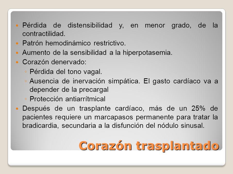 Corazón trasplantado Pérdida de distensibilidad y, en menor grado, de la contractilidad. Patrón hemodinámico restrictivo. Aumento de la sensibilidad a