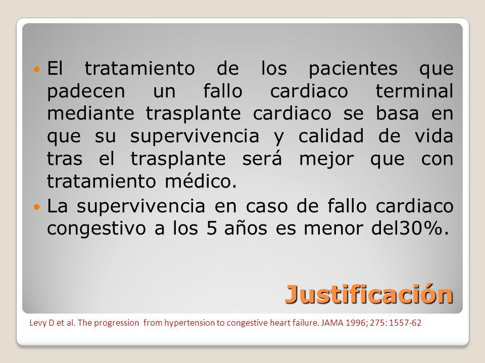 Justificación El tratamiento de los pacientes que padecen un fallo cardiaco terminal mediante trasplante cardiaco se basa en que su supervivencia y ca