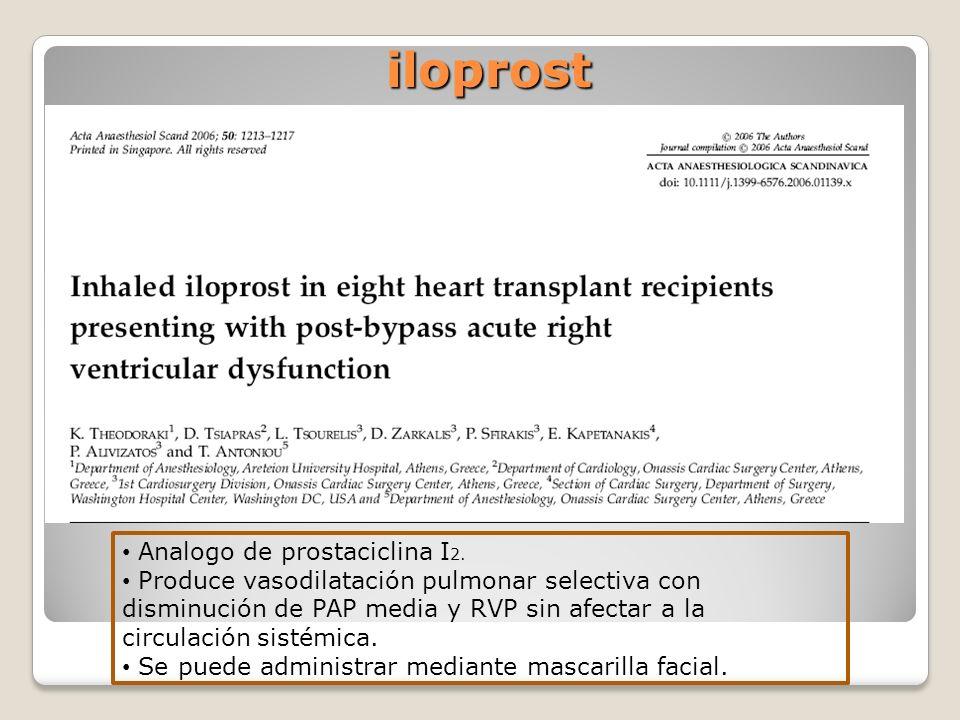 iloprost iloprost Analogo de prostaciclina I 2. Produce vasodilatación pulmonar selectiva con disminución de PAP media y RVP sin afectar a la circulac
