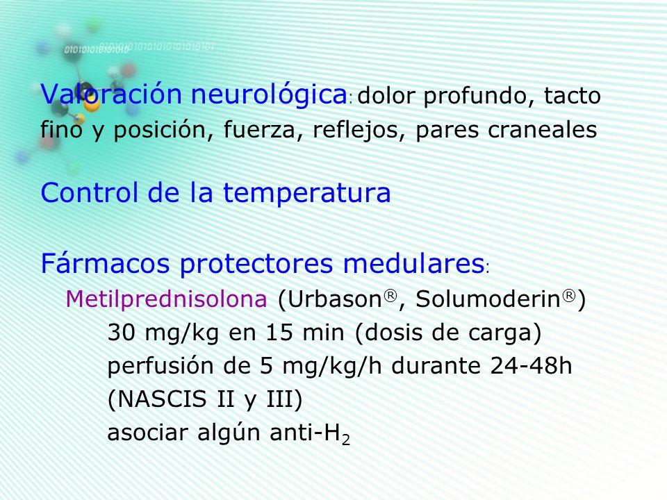 Valoración neurológica : dolor profundo, tacto fino y posición, fuerza, reflejos, pares craneales Control de la temperatura Fármacos protectores medul