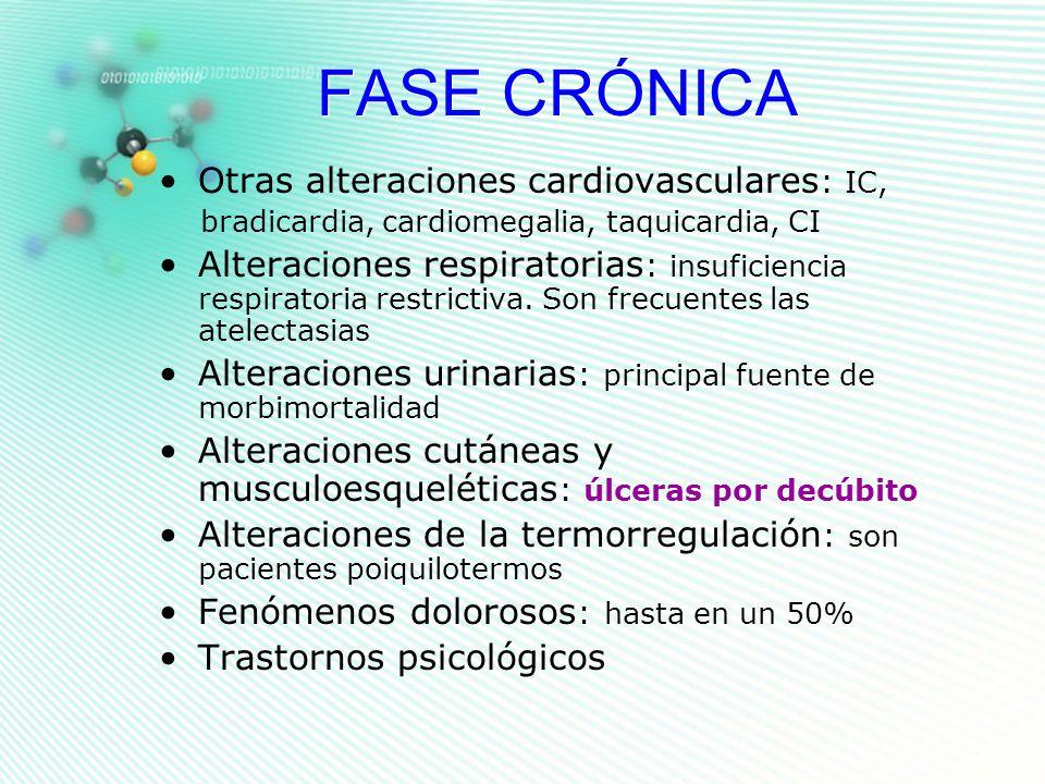 FASE CRÓNICA Otras alteraciones cardiovasculares : IC, bradicardia, cardiomegalia, taquicardia, CI Alteraciones respiratorias : insuficiencia respirat