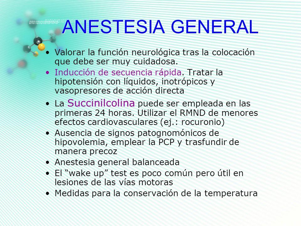 ANESTESIA GENERAL Valorar la función neurológica tras la colocación que debe ser muy cuidadosa. Inducción de secuencia rápida. Tratar la hipotensión c