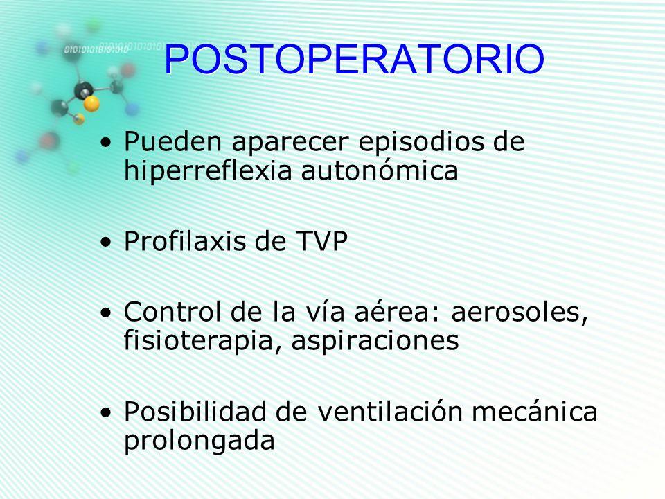 POSTOPERATORIO Pueden aparecer episodios de hiperreflexia autonómica Profilaxis de TVP Control de la vía aérea: aerosoles, fisioterapia, aspiraciones