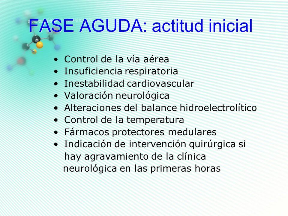 FASE AGUDA: actitud inicial Control de la vía aérea Insuficiencia respiratoria Inestabilidad cardiovascular Valoración neurológica Alteraciones del ba
