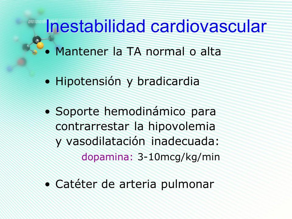 Inestabilidad cardiovascular Mantener la TA normal o alta Hipotensión y bradicardia Soporte hemodinámico para contrarrestar la hipovolemia y vasodilat