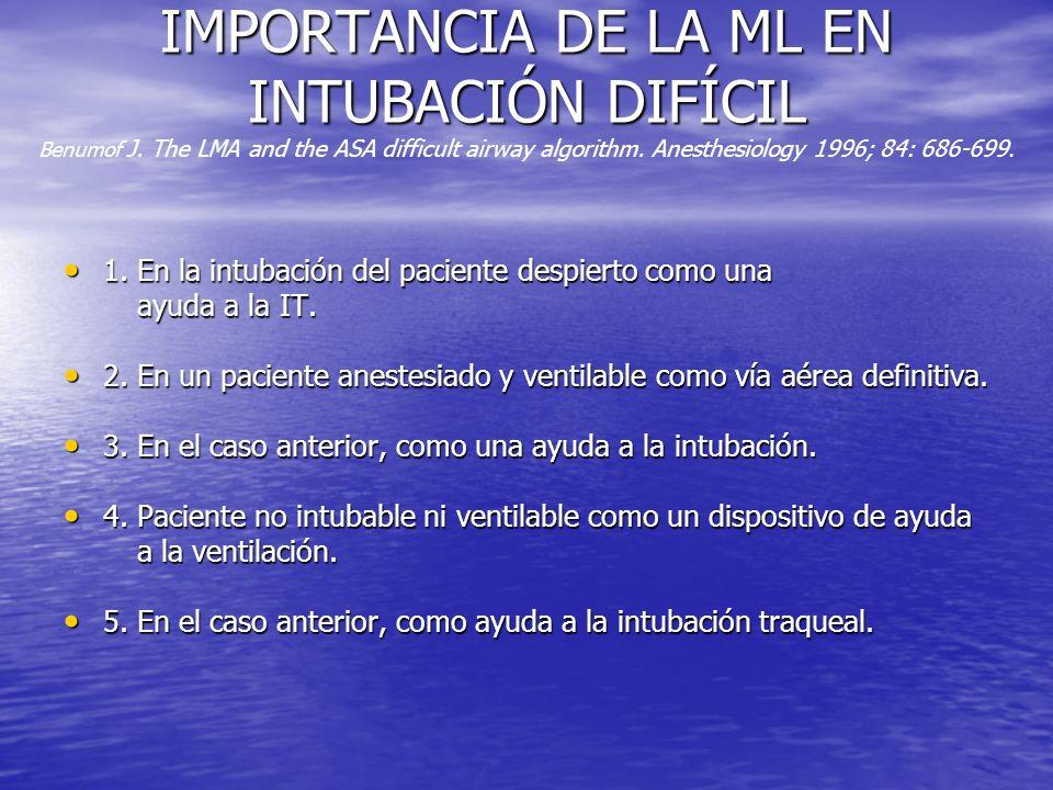 IMPORTANCIA DE LA ML EN INTUBACIÓN DIFÍCIL IMPORTANCIA DE LA ML EN INTUBACIÓN DIFÍCIL Benumof J. The LMA and the ASA difficult airway algorithm. Anest