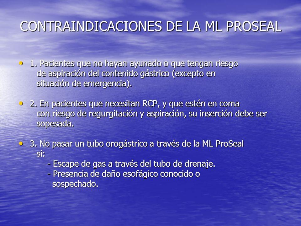 CONTRAINDICACIONES DE LA ML PROSEAL 1. Pacientes que no hayan ayunado o que tengan riesgo 1. Pacientes que no hayan ayunado o que tengan riesgo de asp