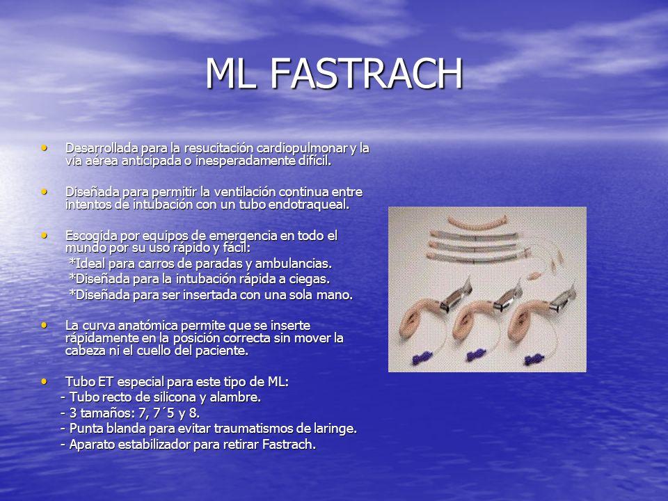 ML FASTRACH Desarrollada para la resucitación cardiopulmonar y la vía aérea anticipada o inesperadamente difícil. Desarrollada para la resucitación ca
