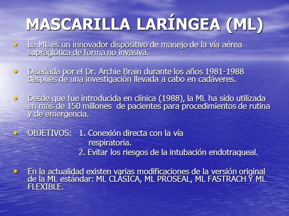 MASCARILLA LARÍNGEA (ML) La ML es un innovador dispositivo de manejo de la vía aérea supraglótica de forma no invasiva. La ML es un innovador disposit