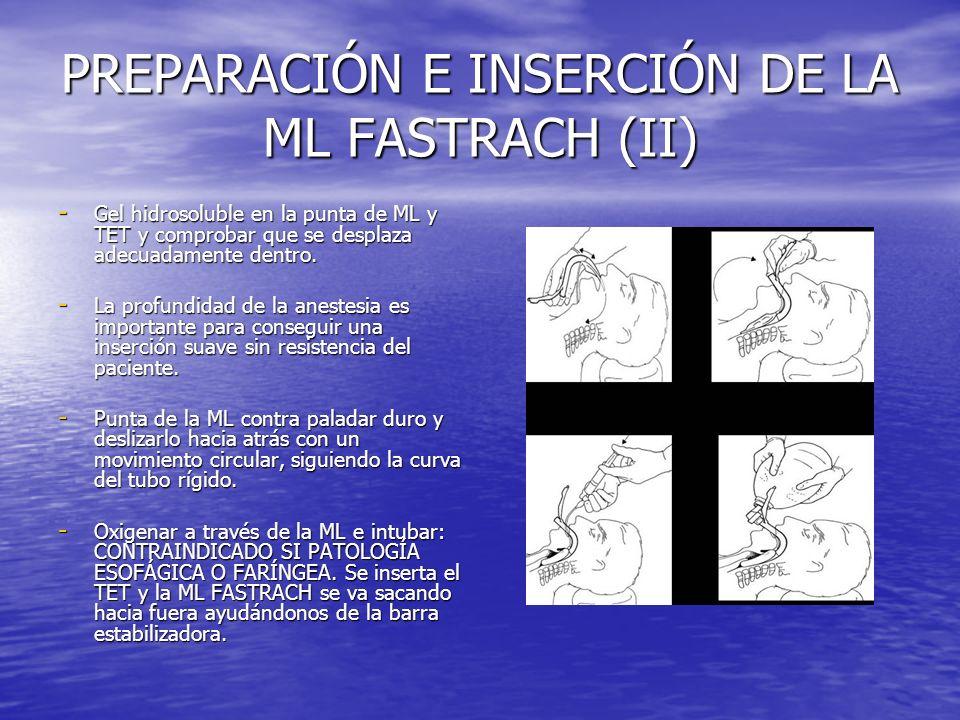 PREPARACIÓN E INSERCIÓN DE LA ML FASTRACH (II) - Gel hidrosoluble en la punta de ML y TET y comprobar que se desplaza adecuadamente dentro. - La profu