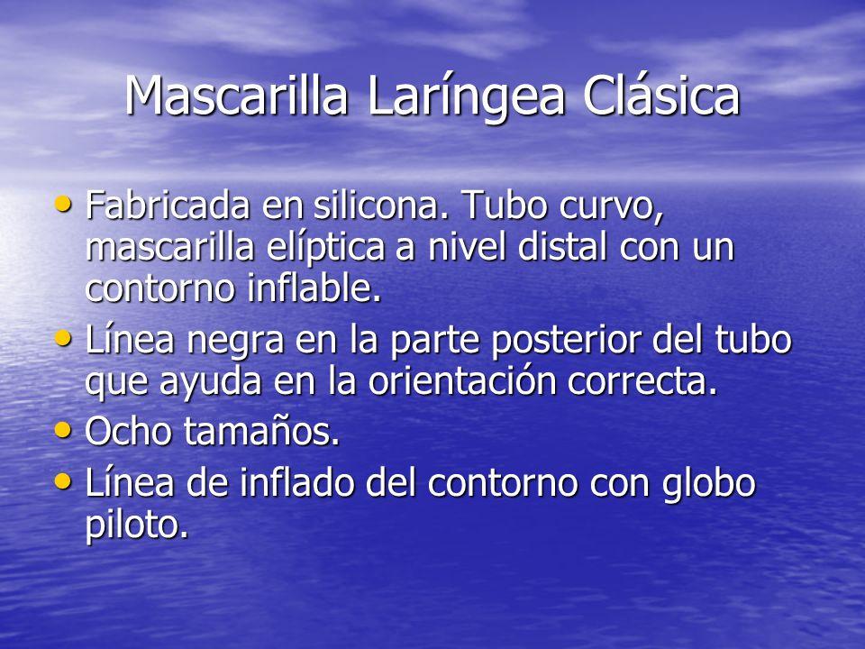 Mascarilla Laríngea Clásica Fabricada en silicona. Tubo curvo, mascarilla elíptica a nivel distal con un contorno inflable. Fabricada en silicona. Tub