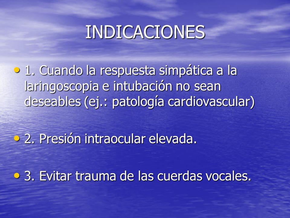 INDICACIONES 1. Cuando la respuesta simpática a la laringoscopia e intubación no sean deseables (ej.: patología cardiovascular) 1. Cuando la respuesta