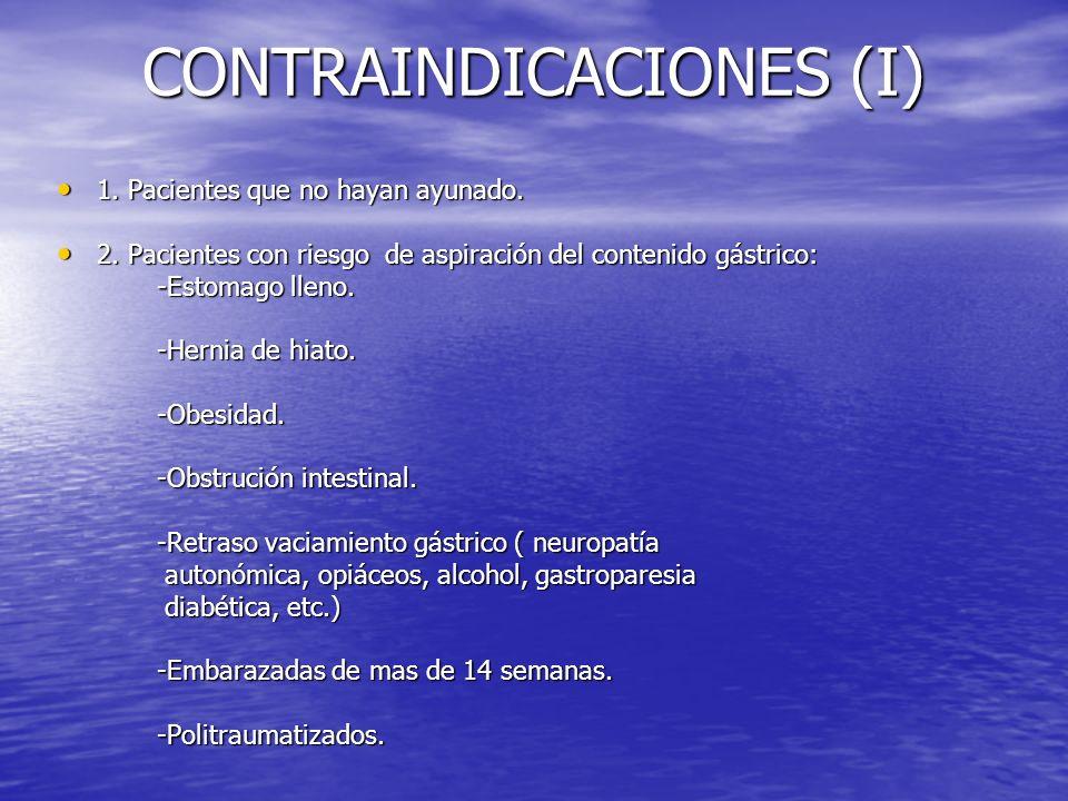 CONTRAINDICACIONES (I) 1. Pacientes que no hayan ayunado. 1. Pacientes que no hayan ayunado. 2. Pacientes con riesgo de aspiración del contenido gástr