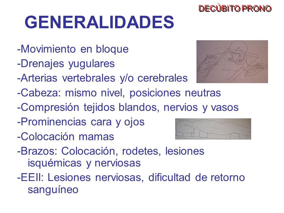 GENERALIDADES -Movimiento en bloque -Drenajes yugulares -Arterias vertebrales y/o cerebrales -Cabeza: mismo nivel, posiciones neutras -Compresión teji