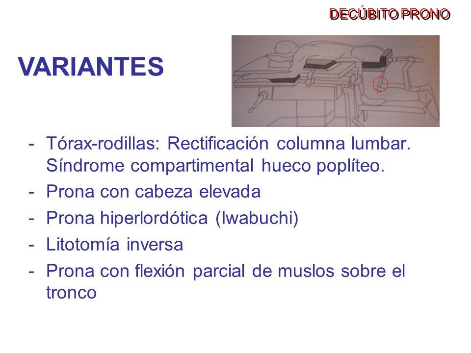 -Tórax-rodillas: Rectificación columna lumbar. Síndrome compartimental hueco poplíteo. -Prona con cabeza elevada -Prona hiperlordótica (Iwabuchi) -Lit