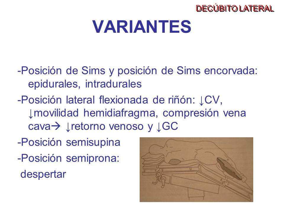 VARIANTES -Posición de Sims y posición de Sims encorvada: epidurales, intradurales -Posición lateral flexionada de riñón: CV, movilidad hemidiafragma,