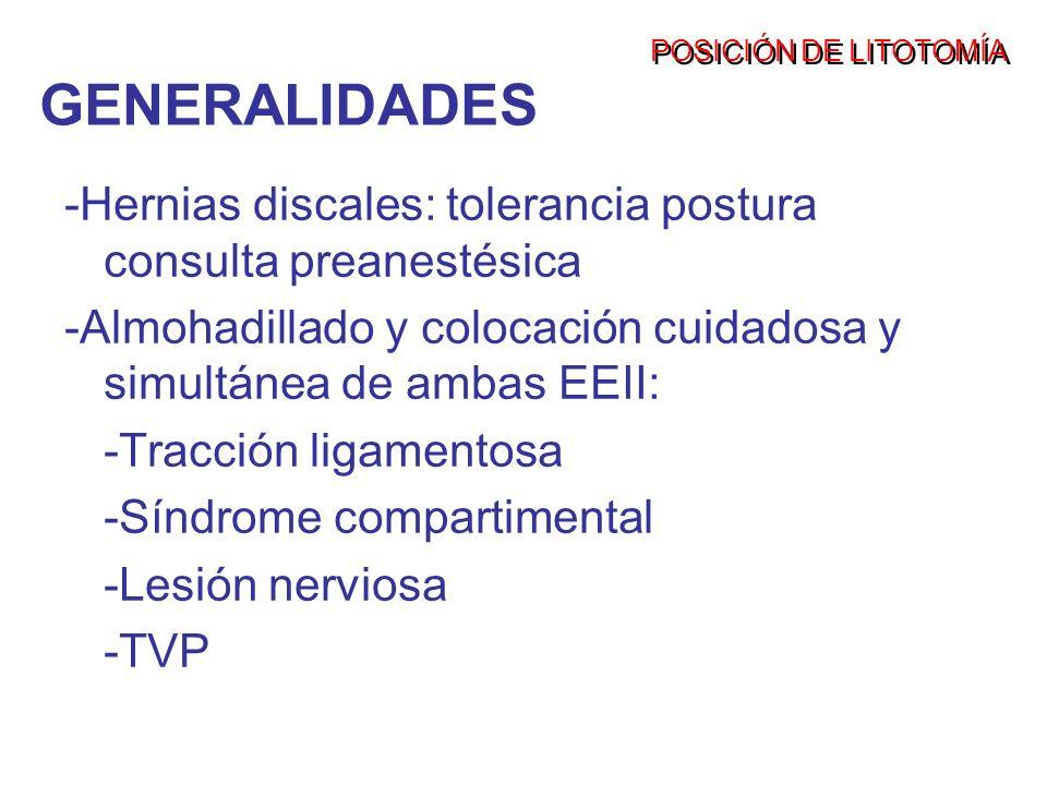 POSICIÓN DE LITOTOMÍA -Hernias discales: tolerancia postura consulta preanestésica -Almohadillado y colocación cuidadosa y simultánea de ambas EEII: -