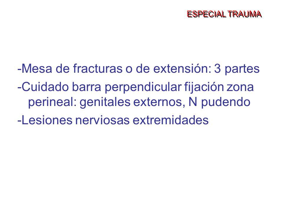 ESPECIAL TRAUMA -Mesa de fracturas o de extensión: 3 partes -Cuidado barra perpendicular fijación zona perineal: genitales externos, N pudendo -Lesion