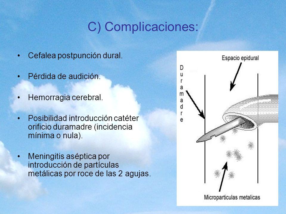 C) Complicaciones: Cefalea postpunción dural. Pérdida de audición. Hemorragia cerebral. Posibilidad introducción catéter orificio duramadre (incidenci