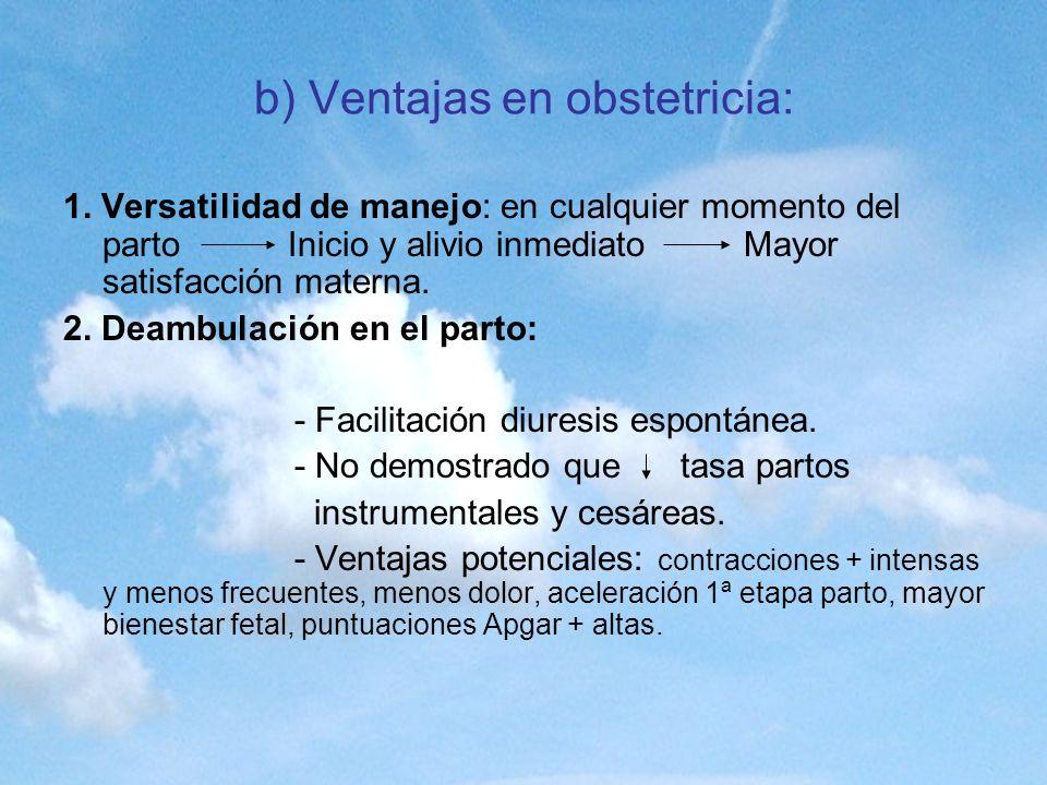 b) Ventajas en obstetricia: 1. Versatilidad de manejo: en cualquier momento del parto Inicio y alivio inmediato Mayor satisfacción materna. 2. Deambul