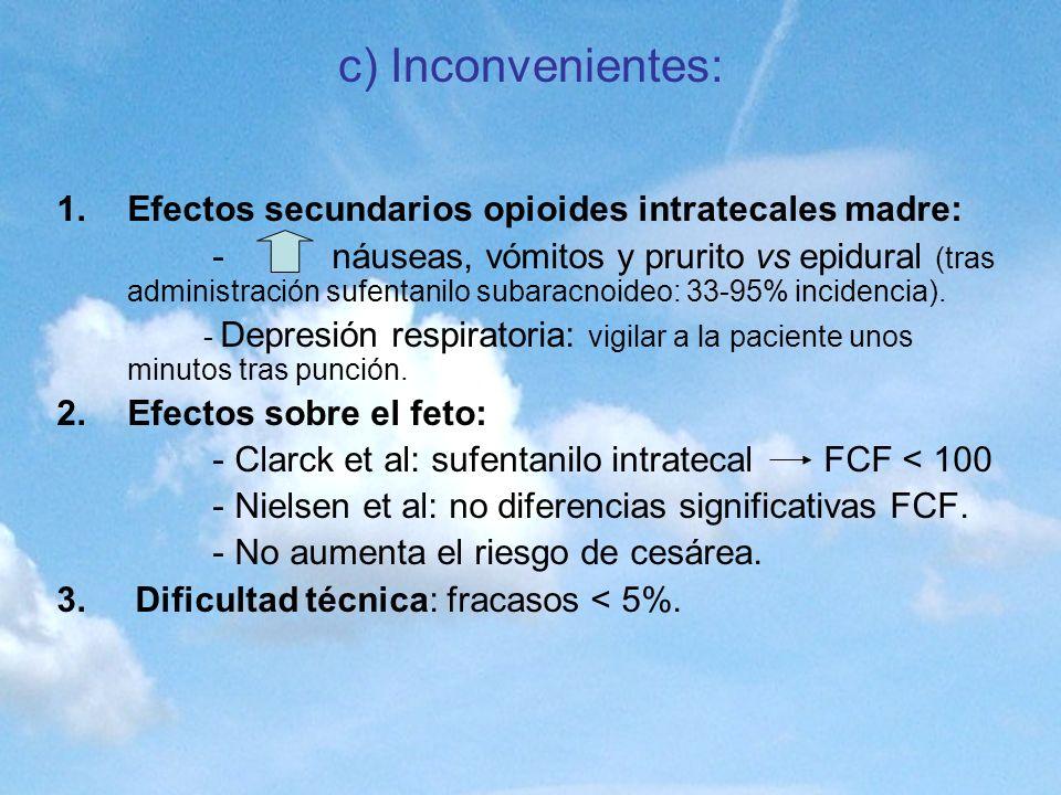 c) Inconvenientes: 1.Efectos secundarios opioides intratecales madre: - náuseas, vómitos y prurito vs epidural (tras administración sufentanilo subara