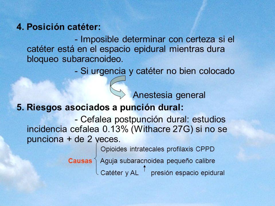 4. Posición catéter: - Imposible determinar con certeza si el catéter está en el espacio epidural mientras dura bloqueo subaracnoideo. - Si urgencia y