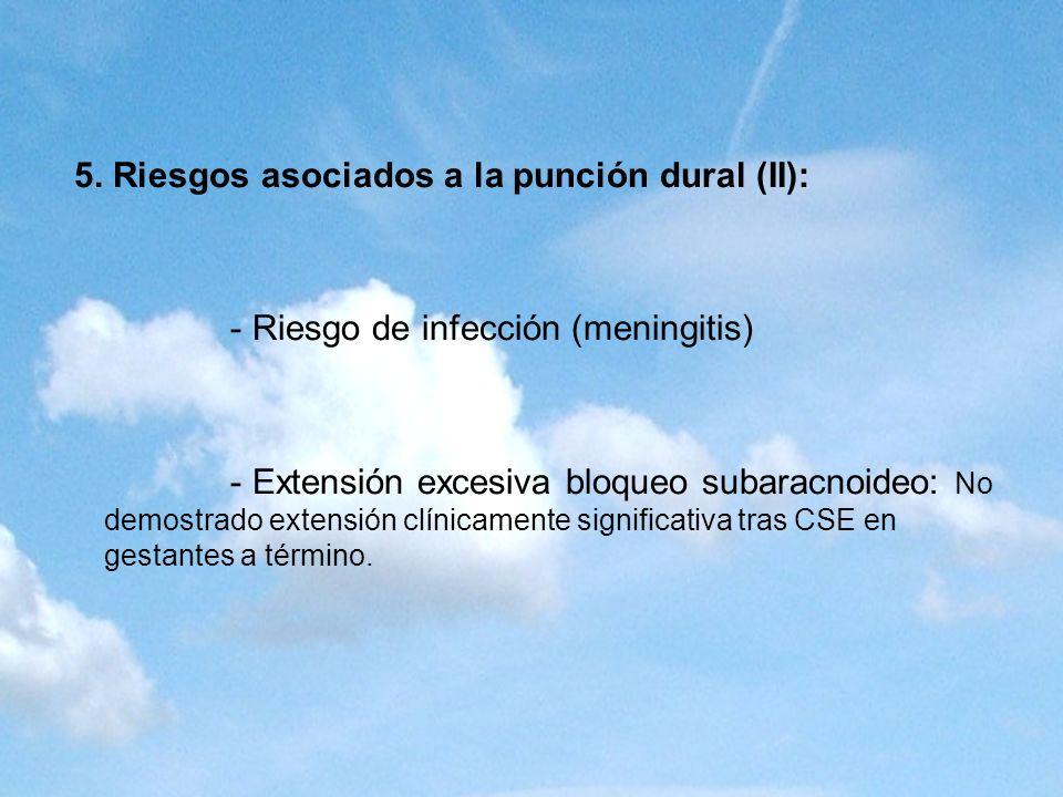 5. Riesgos asociados a la punción dural (II): - Riesgo de infección (meningitis) - Extensión excesiva bloqueo subaracnoideo: No demostrado extensión c