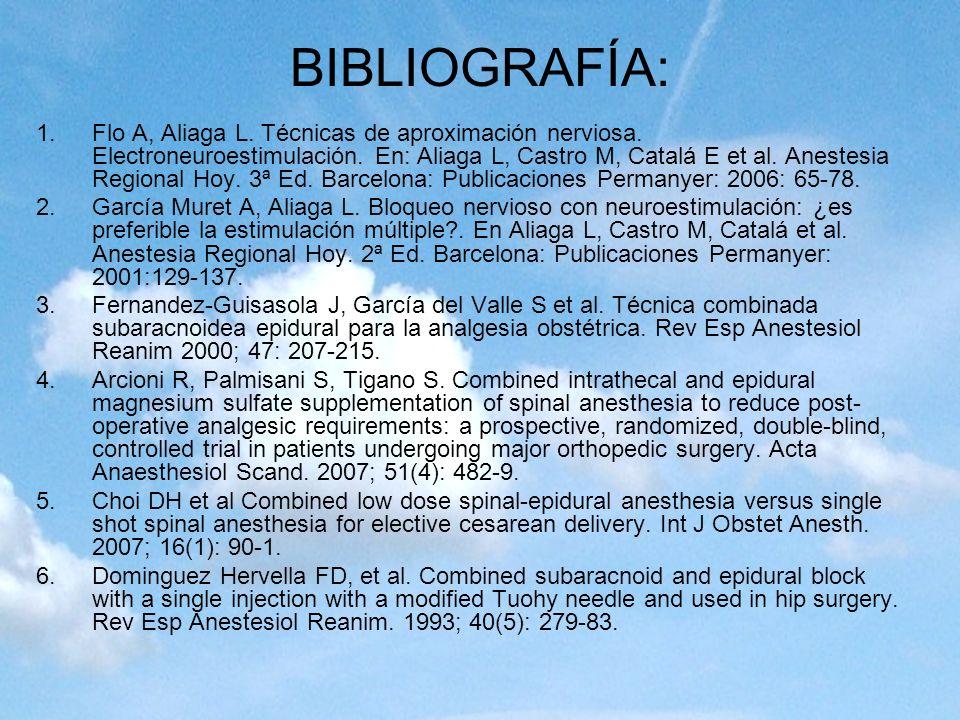 BIBLIOGRAFÍA: 1.Flo A, Aliaga L. Técnicas de aproximación nerviosa. Electroneuroestimulación. En: Aliaga L, Castro M, Catalá E et al. Anestesia Region