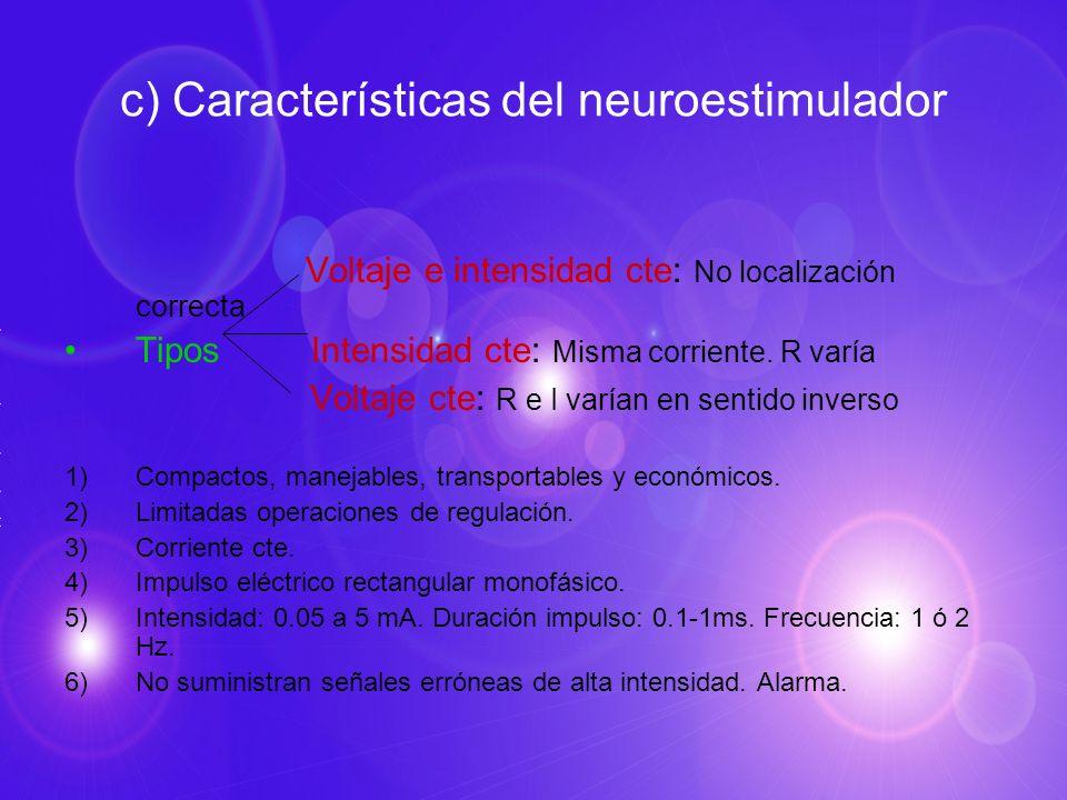 c) Características del neuroestimulador Voltaje e intensidad cte: No localización correcta Tipos Intensidad cte: Misma corriente. R varía Voltaje cte: