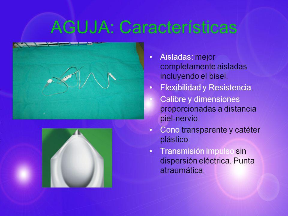 AGUJA: Características Aisladas: mejor completamente aisladas incluyendo el bisel. Flexibilidad y Resistencia. Calibre y dimensiones proporcionadas a