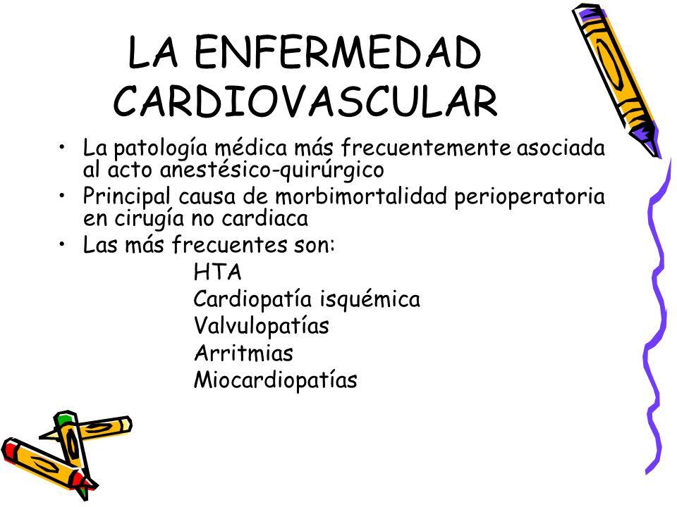 LA ENFERMEDAD CARDIOVASCULAR La patología médica más frecuentemente asociada al acto anestésico-quirúrgico Principal causa de morbimortalidad perioper