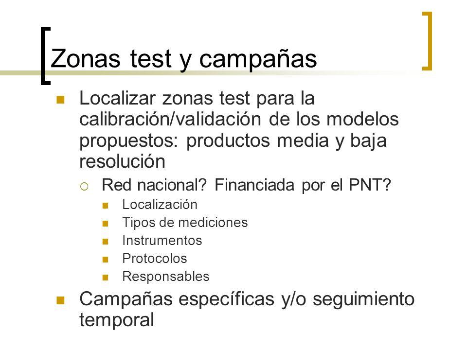Zonas test y campañas Localizar zonas test para la calibración/validación de los modelos propuestos: productos media y baja resolución Red nacional.