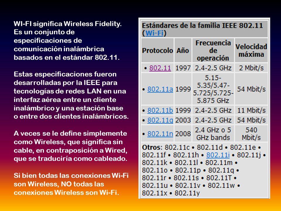 WI-FI significa Wireless Fidelity. Es un conjunto de especificaciones de comunicación inalámbrica basados en el estándar 802.11. Estas especificacione