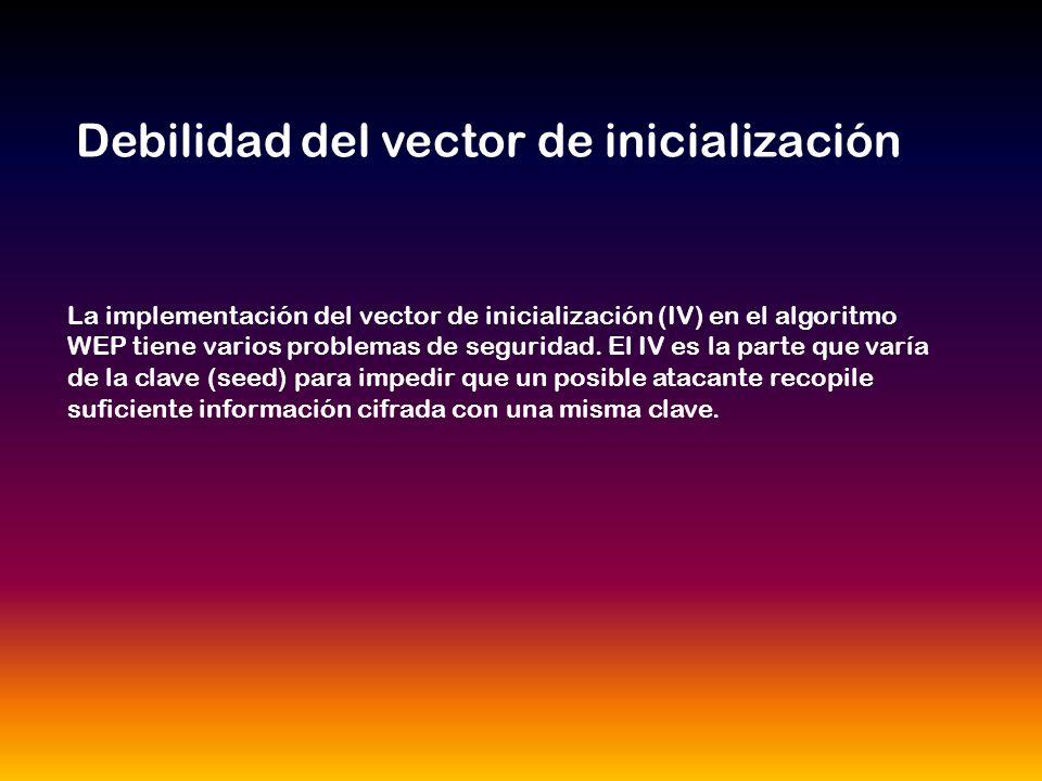 La implementación del vector de inicialización (IV) en el algoritmo WEP tiene varios problemas de seguridad.