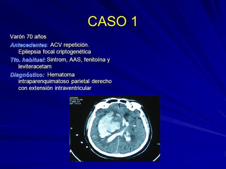 CASO 1 Varón 70 años Antecedentes: ACV repetición. Epilepsia focal criptogenética Tto. habitual: Sintrom, AAS, fenitoína y leviteracetam Diagnóstico: